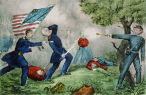 Death of Colonel Baker at the Battle of Ball's Bluff, October 21, 1861